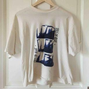 """Vit T-shirt med blått tryck och """"Sails of blue"""" i blå text. Välanvänd och i okej skick. Köpare står för frakt!"""
