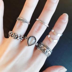 6pack ringset-HOPP♡Material:Gemstone,Alloy,Acrylic,Crystal. Färg: Silver. Märke: New Week. Frakt: 11:-