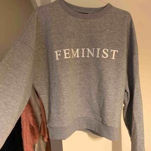 En collage tröja där det står feminism från topshop. Storlek 34/s men är lite oversize så passar större storlekar