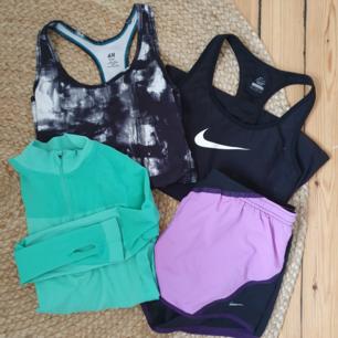 Träningskit från märkena Nike, H&M och Forever 21. 2 träningslinnen, 1 par träningsshorts och en långärmad träningströja. 180 kr för allt eller ett plagg för 50kr 🌿