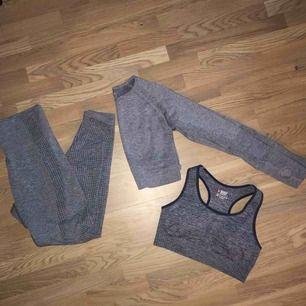Seamless Träningsset med sport-bh, träningstights och långärmad tröja. Uppskattar storlek till S  Tightsen är använda ett fåtal gånger men övriga delar är oanvända