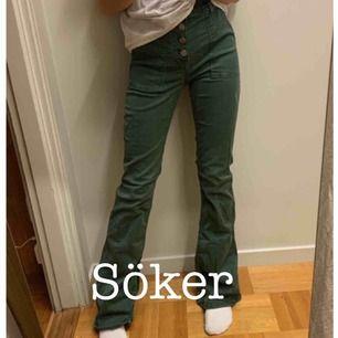 Jag söker dessa zara jeans i grått i storlek 34! Om något har de och är intresserade att sälja kontakta mig och så kommer vi överens om ett pris