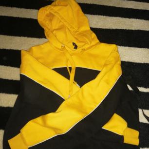 En hoddie i gul, vit och svart. Dessutom är den magtröja.  Använt ca 4 gonger och tvättat ca 2,