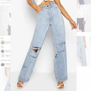 Ett par SKITSNYGGA helt nya , endast testade, jeans från boohoo!! Jag är själv 1.62 och tyckte att de var aningen för långa , tror de skulle funka bättre på någon som är 165-170 cm lång💕Nypris:450 kr