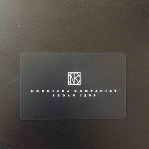 Presentkort NK värde 500 kr. Säljes för 350