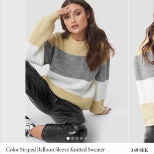 """Superfin stickad tröja från nakd! Modellen """"color striped balloon sleeve knitted sweater"""". Endast använd 1 gång 🥰 Säljer pga jag kände inte riktigt att de var mina färger :) väldigt fint skick. Pris kan diskuteras så skriv om du är intresserad !"""