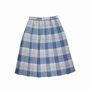 Vintage ca 90s wool blend pleated check plaid tartan midi skirt in grey and blue Label: 40, fits best S or tight M Measurements (flat, approx.): length: 71 cm waist: 35.5 cm Free shipping! Read the full description at our website majorunit.com No returns