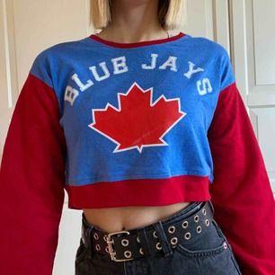 blå-röd croppad sweater köpt på beyond retro! jättefin och fleece-aktigt material innuti😚 står ingen storlek men gissar S - köparen står för frakten - jag kan stryka alla plagg om så önskas - katter finns i hemmet!