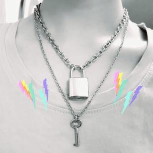 LockAndKey-Set♡Material: Alloy. Färg: Silver. Märke: KubaKuwo. ExtraInfo: Nyckeln KAN låsa upp låset☆Halsbanden går att bära separata.