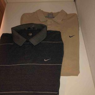 Två jätte fina piké skjortor, en beige och en grå. Knappt använt någon av dom. Det står ingen storlek men dom är ganska oversized