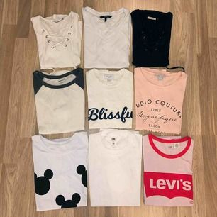 Säljer massa fina t-shirts i storlekarna XS och S. Alla är i väldigt fint skick, vissa helt oanvända. Hör av er för priset och storlekar💕