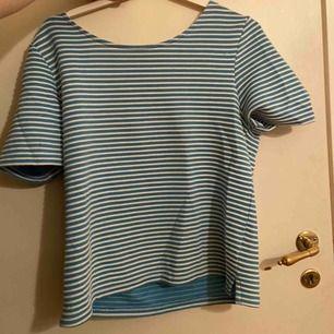 blå o vit randig tröja gjord av lite tjockare material från next. skulle säga att den kanske passar storlek m eller mindre. Jättemjukt tyg och ränderna står ut lite. kan mötas upp i stockholm annars står köpare för frakt 👍🏼