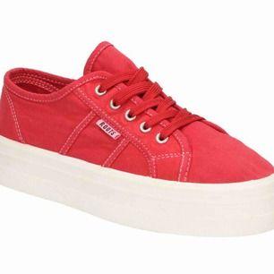 Skitsnygga röda högsulade sneakers som påminner mycket om superga! Använda en gång och säljer eftersom dom aldrig kommer till användning, dm för fler bilder❤️ 200kr exkl. frakt