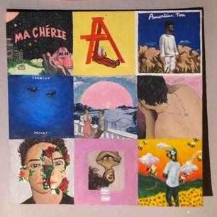 En tavla jag målat med massa olika album/låtar, hör av dig om du vill köpa och vilket pris du skulle kunna tänka dig:)