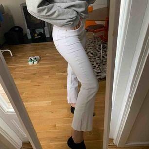 """Skitsnygga """"bootcut"""" jeans från Zara. Modellen är kort i benen. Jag är 170cm) Helt nya och aldrig använda, nypris 399kr. Kan frakta men köparen står för frakten. Kontakta för fler bilder eller frågor. 💛"""