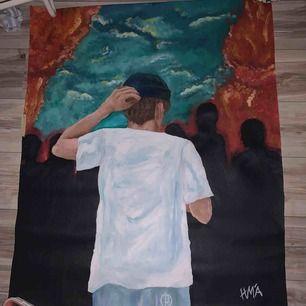 En målning jag har själv målat, vill bara se om folk är intresserade överhuvudtaget. Den är alltså 80x100cm så ganska stor, men är ganska så stolt över den så vill se om detta är värt att prova. Så kanske jag kan fortsätta att sälja mina målningar här.