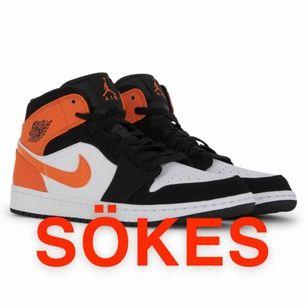 Hej jag söker Jordan 1 highs i storlek 36,5-37,5. Helst dem färgerna på bilden eller dem svart och vita