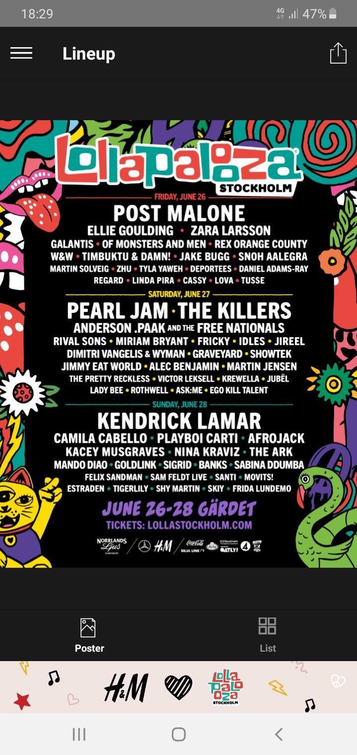 Säljer min 3 dagars biljett till lollapalooza i sommar, biljetten kan skickas via pdf. Övrigt.