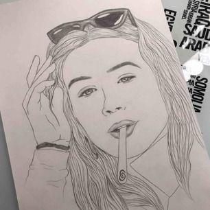 Skicka en bild så ritar jag ett porträtt:) Tar några dagar, priset är exklusive frakt.
