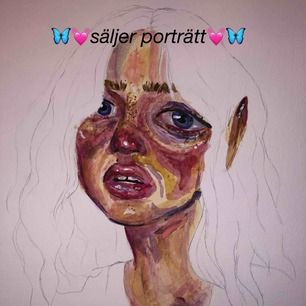 (Pris varierar!) Jag säljer porträtt på dig/frivillig person. Detta är exempel-bilder på min stil när jag gör porträtt. Jag målar endast med vattenfärg och pris varierar på hur stort porträttet ska vara.💓