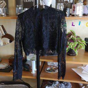 Croppad topp i spets, svart från Weekday. Jättesnygg att ha under linne eller klänning. Hög krage i spets. Storlek M, köpare står för frakten.