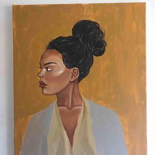 Säljer denna tavla jag gjort på en canvas som är 55x 66 cm, det är inga problem att göra bakgrunden i någon annan färgskala om så önskas💗 frakt tillkommer :)