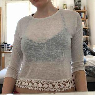 Transparant vit tröja från Only med fin spets längs nedre kanten. Storlek S. Väl använd. Har en liten missfärgning på framsidan men jag jobbar på att få bort den. Frakt 44kr köpare betalar.