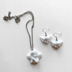 Superfint set med änglar! 80kr för örhängena & 80kr för halsbandet! 🤍🤍