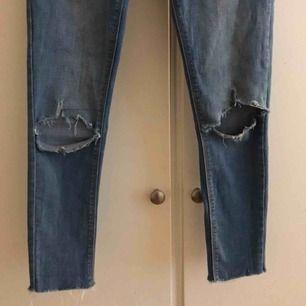 Säljer ett par jeans från Dorothy Perkins som jag klippt nertill själv men de blev alldeles för korta på mig som är 174 cm. Väldigt liten i strl, skulle passa en 36-38🤍Kom privat om ni har frågor, köparen står för frakt!