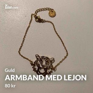 Gulligt armband med ett lejon på, påminner om Kenzo. Köpt på raglady, nästan aldrig använt. Köparen står för frakten!