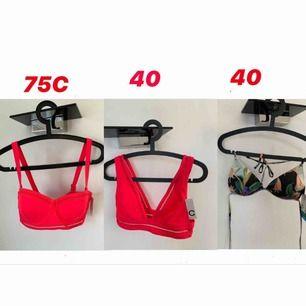 Säljer dessa bikini överdelar, 20 kr st + frakt Helt oanvända då prislappen fortfarande sitter på!  Första och andra överdelarna från Cubus  Tredje från hm.  Skicka meddelande om ni vill se dem separat