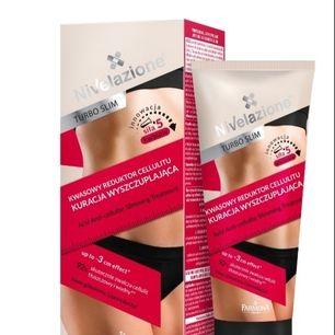 Turbo Slim Acid Anti-Cellulite Slimming Treatmen.  Nivelazione Turbo Slim Acid Anti-Cellulite Slimming Treatment ger det yttre hudlagret en utslätande exfoliering. Använd dagligen i ca 6 veckor för bästa result.Frakt 50kr
