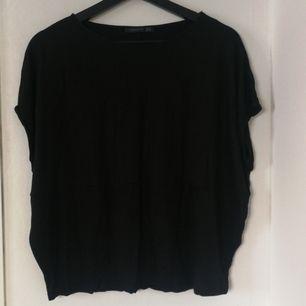 Wide shoulder sleeves L size black blouse 100%viscose