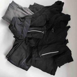MYSKLÄDES-PAKET! 1 tröja/topp från Bik Bok, ett par tights med detaljer på från Lindex, 2 par tights med dragkedja vid fotlederna, ett par tjockare stickade tights, ett par termoleggings från Bik Bok och 1 kort tight svart kjol från H&M. Allt eller inget!