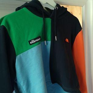 Multifärgad hoodie från Ellesse. Använd ett fåtal gånger så i fett bra skick!! Original pris ca 600 kr. Möts upp i sthlm eller köparen står för frakten🥰