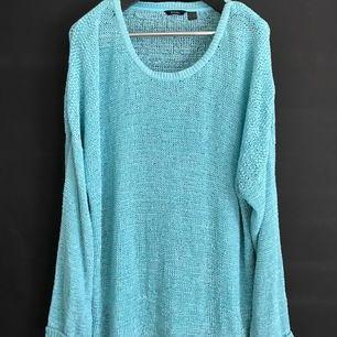 Mint/teal färgad glesstickad tröja. Passar bra som oversize på storlek M/L/XL och vanlig passform på XXL/XXXL. Mycket fint skick, som ny!