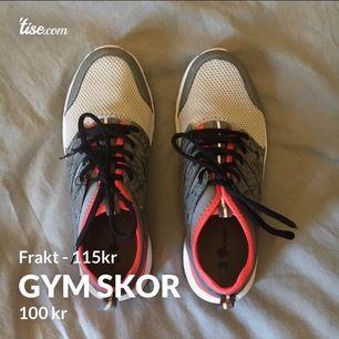 Gym skor Storlek 38 Sällan använda Tyvärr lite skador på sidan plus ena snöret! Tvättas innan de skickas! (Sammanlagt 215kr)