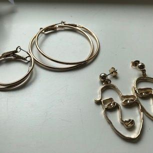 Säljer dessa snygga örhängen som inte kommer till användning! Ringarna är från gina tricot och det andra paret är från monki. 30kr per par för ringarna och 50kr för dem från monki! Örhängena är mycket sparsamt använda. Kom gärna med prisförslag🦋