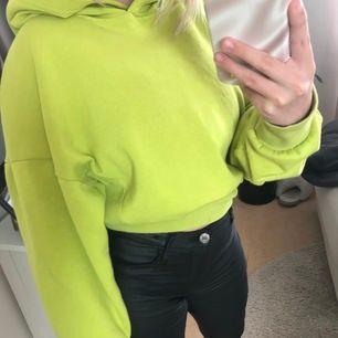 En limegrön hoodie strl Xs, köpt från bikbok för 399kr, säljs pågrund av att den aldrig kommer till användning, luddig och mysig inuti🥰🦋 är du intresserad kan du få mer bilder💞 frakt tillkommer om du inte kan mötas upp i Örebro