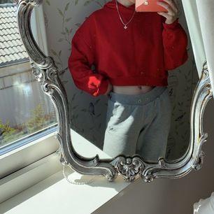 Säljer min röda croppade hoodie från h&m. Använt många gånger. Storlek L. Köparen står för frakten 🤍