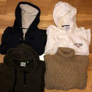 En marinblå jätte mysig hoodie med fluff innuti(xs)100kr, vit hoodie från west point (L mer som en M)100kr, grön hoodie från only& sons(M)50kr, stickad polo tröja från superdry (s)100kr