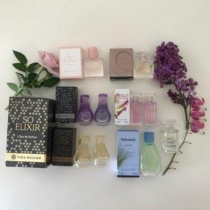 Alla parfymer är oöppnade! 🌸 Bortsett från bild 2 så är alla från Yves Rocher. Orginalpris på många av dom (30ml ligger på 400kr så detta är billigt. Vi kommer överens om ett bra pris!