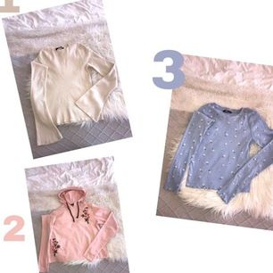 1- krämvit tröja med utsvängda ärmar, (har en likadan svart). Storlek S, 50kr. 2- ljusrosa huvtröja med fina detaljer storlek S, 60kr. 3- ljusblå tröja med små vita blommor storlek S, 60kr.