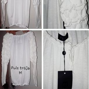 Vit finstickad tröja från Pulz. Storlek M. Ny, med lapp. Nypris 499kr.