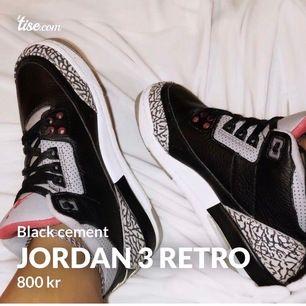 OBS! Min egna bild. Säljer mina klassiska Jordan 3 retro black cement. Väldigt gott skick! Original paket medföljds. Strl 38,5  Köpta för 1500kr