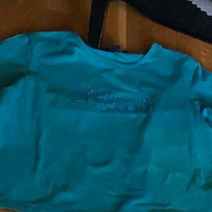 """En jätte aesthetic teal tshirt med """"isolde"""" i rheinstones. Ascool somrig vibe🦋 Fick av kompis, använt skick, står XL i tröjan men skulle snarare säga runt S-M☺️"""