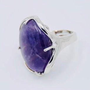 🥳Ny stor äkta sten Amasti silver ring 💍