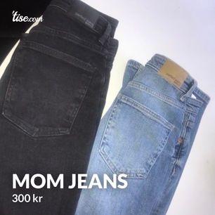 Mom Jeans från ginatricot strl 34. Helt nya och oanvända, säljes pga av fel storlek och inget kvitto. Ny pris är 500 kronor/jeans. men jag säljer för 300 kronor/jeans. De blå mom jeansen har lite slitage på ena knät och låret men inte alls mycket.
