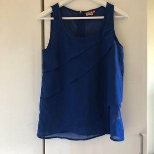 Mörkblått festligt linne med guldfärgad dragkedja. Passar även till vardags. Motsvarar stl S och M. Lite volanger.  Skickas mot fraktkostnad 44 kr.