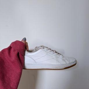 Vita Reebok sneakers. Strl 39. Väl använda men fortfarande fina. Byter man skosnören blir de som nya <33 Väldigt bekväma!! Säljs för 80kr+frakt /mötas i Malmö.